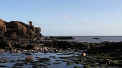 Kaim Of Mathers Castle St Cyrus Nature Reserve Scotland Stock Footage
