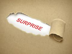 the word surprise behind torn paper - stock illustration