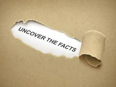 Uncover the facts words behind torn paper Stock Illustration