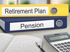 Stock Illustration of retirement plan and pension binders