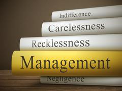 Book title of management isolated on a wooden table Stock Illustration