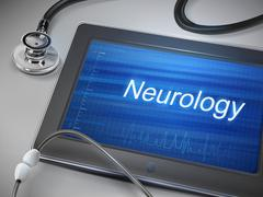 neurology word displayed on tablet - stock illustration