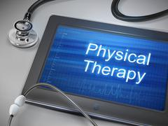 Stock Illustration of physical therapy words displayed on tablet