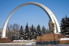 Heroes boulevard in the city of novokuznetsk, russia Stock Photos