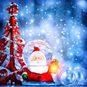 cute snow globe santa - stock photo