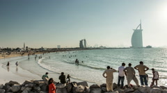 Ultra HD, 4K, crowd in Jumeirah Beach Stock Footage