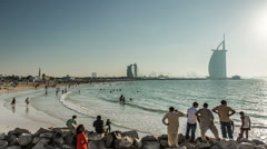 Time Lapse Photography crowd in Jumeirah Beach Stock Footage