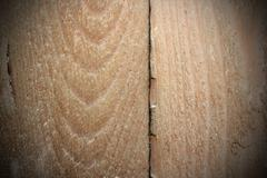 Crack on old wooden plank, interesting wood texture with vignette Stock Photos