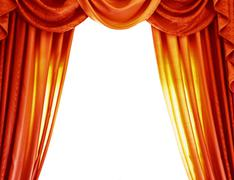 Luxury orange curtains Stock Photos
