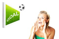 Excited football fan Stock Illustration