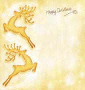 christmas holiday card, golden background, reindeer decorative border - stock illustration