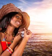 sexy african woman on the beach - stock photo
