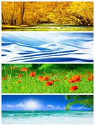 Four seasons collage Stock Photos