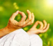 yoga meditation outdoor - stock photo