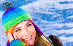 happy woman in wintertime - stock photo