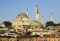on the hill Suleymaniye Mosque (Ottoman imperial mosque) Istanbul Turkey - stock photo