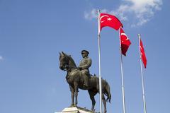 Ataturk, Statue of Ataturk on horse, the founder of modern Turkey, Ankara - stock photo