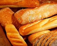 Fresh baked bread background Stock Photos