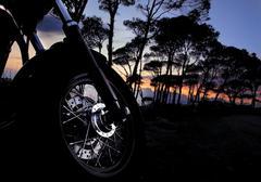 motorbike at night - stock photo