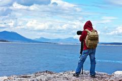 wildlife photographer traveler - stock photo