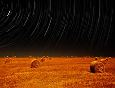 night landscape of farm field - stock photo