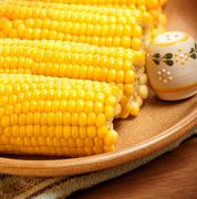 corncob on the plate - stock photo