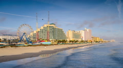 Daytona Beach, Florida Beachfront Skyline Stock Footage
