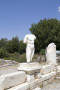Collosal torso of naked male god in Hadrian bath of Aphrodisias in Aydin, Turkey Stock Photos