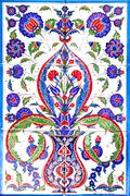 traditional turkish floral ornament on tiles - stock photo