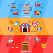 Amusement Park Banner Set Stock Illustration