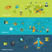 Airport Banners Set Stock Illustration
