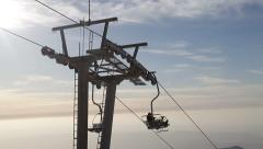 Cableway in the mountains Stock Footage
