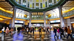 Tokyo japan station filled with commuters Stock Footage