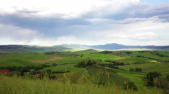 Green hills of Tuscany, Italy, panning Stock Footage