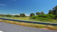 View from the car to the spanish summer plains Stock Footage