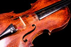 classical shape wood vintage violin - stock photo