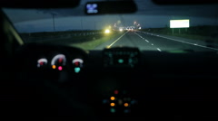 Car at the toll collection point at night Stock Footage