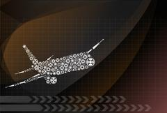 Airplane made by gear decoration vector Stock Illustration