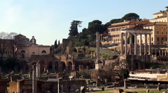 View of the Roman Forum from the Via dei Fori Imperiali road Stock Footage