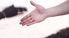Hand shake as symbol of international friendship Stock Footage