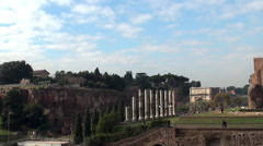 View of Palatine Hill and Roman Forum from the Coliseum Stock Footage