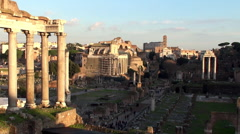 View of the Roman Forum from the Palazzo Senatorio Stock Footage