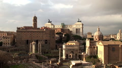 View of the Roman Forum from the Palatine Hill Stock Footage