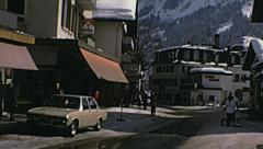 Grindelwald 1970: people walking in the street Stock Footage