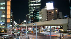 4k night time lapse of popular Roppongi area in Shibuya Tokyo Japan Stock Footage