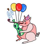 Cute piggy in party cap opens a bottle of sparkling wine - stock illustration