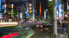 Street level pov time lapse of Roppongi, Shibuya, Japan with Tokyo Tower Stock Footage