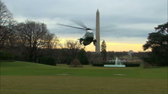 Stock Video Footage of Marine One Landing on Whitehouse Lawn