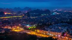 Night scene of Guilin city - stock footage