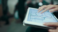 Woman using tablet in underground Stock Footage